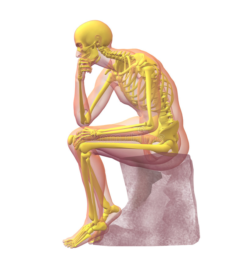 Radiografe a ilustração do corpo humano e do squeleto masculinos ilustração stock