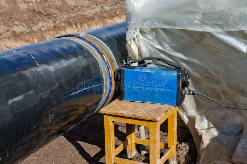 Radiografie van las op aardgasleiding royalty-vrije stock foto