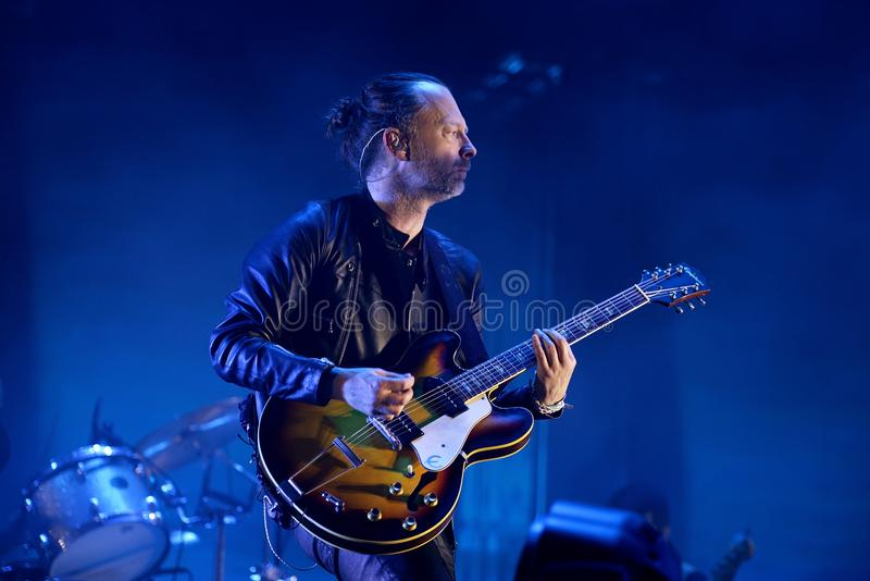 Radiohead band perform in concert at Primavera Sound 2016 royalty free stock images