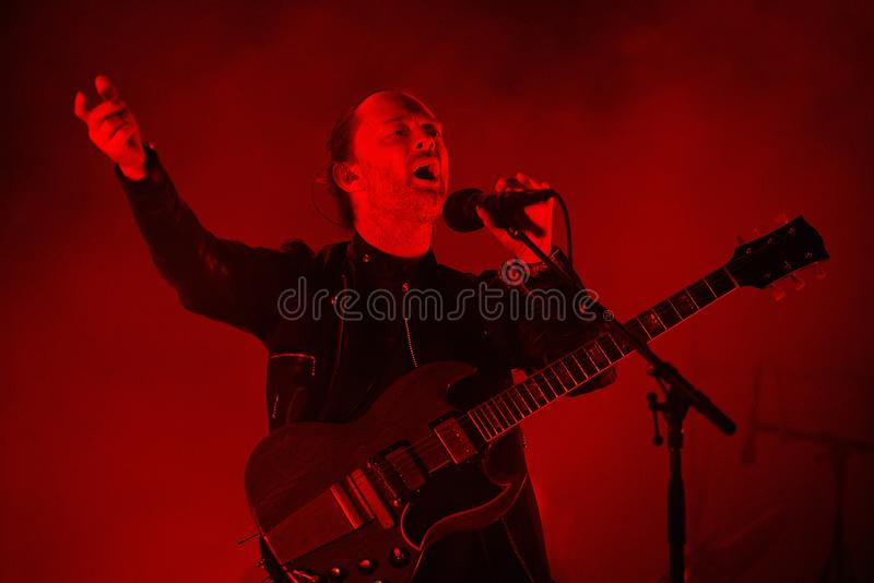 Radiohead band perform in concert at Primavera Sound 2016 stock photography