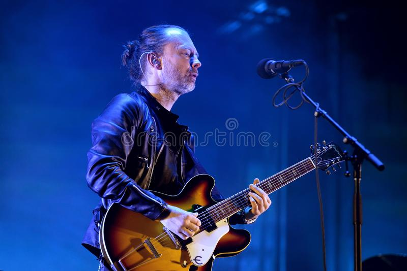 Radiohead band perform in concert at Primavera Sound 2016 royalty free stock image