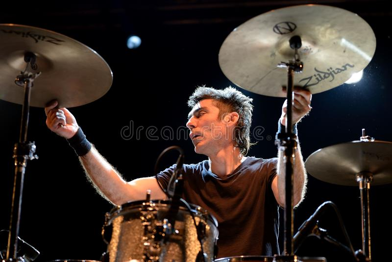 Radiohead band perform in concert at Primavera Sound 2016The drummer of Shellac band performs in concert at Primavera Sound 2016 stock photo