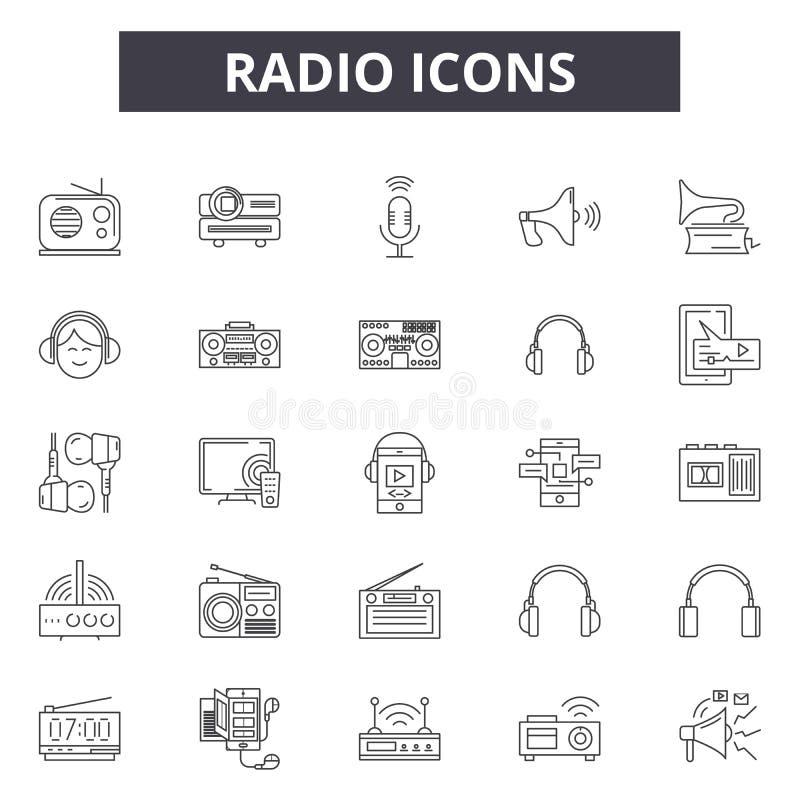 Radiolijnpictogrammen, tekens, vectorreeks, het concept van de overzichtsillustratie vector illustratie