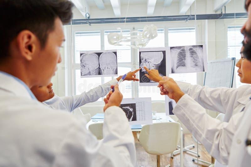 Radiologer som diskuterar röntgenstrålebilder arkivfoton