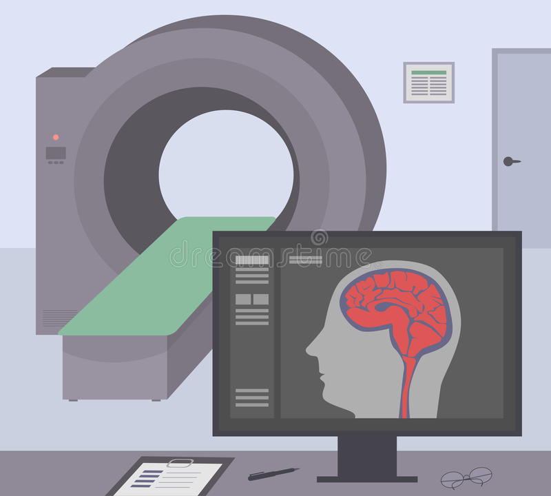 Radiologic room with a computer tomograph. MRI / CT diagnostic scanner and monitor to scan the human brain on the screen. stock illustration