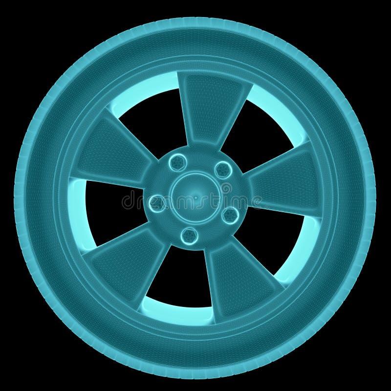 radiologiczny wizerunek Samochodowy koło ilustracja wektor