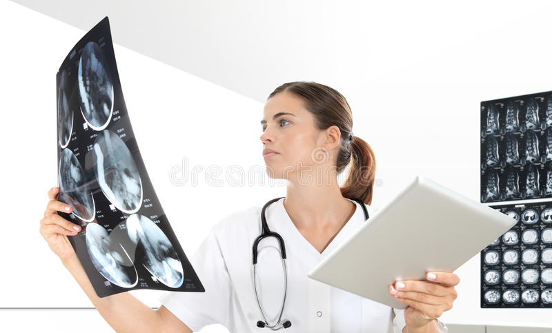 Radiologist woman checking xray, healthcare, medical. And radiology concept royalty free stock photos