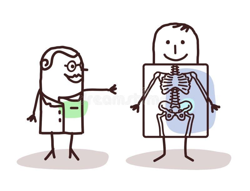 Radiologista dos desenhos animados com paciente ilustração royalty free