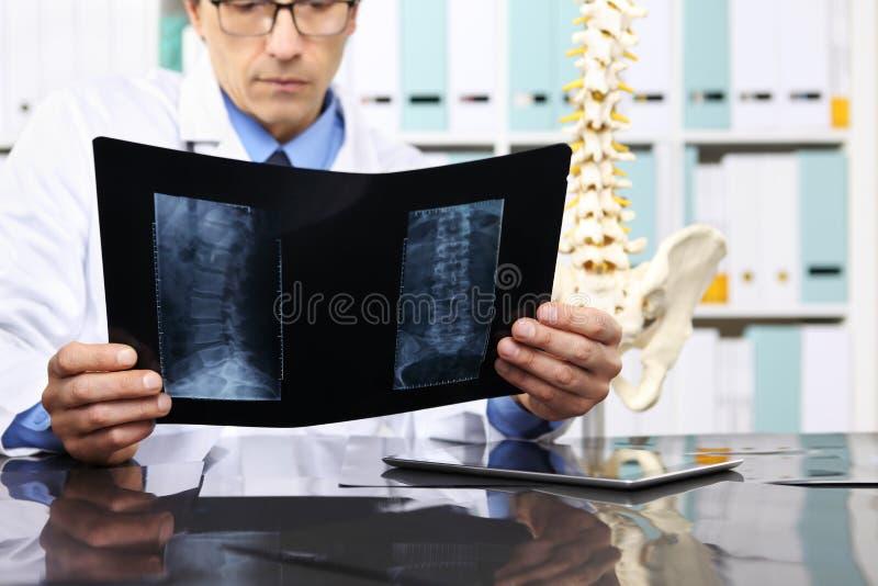 Radioloog arts die röntgenstraal, gezondheidszorg, medisch concept controleren stock foto