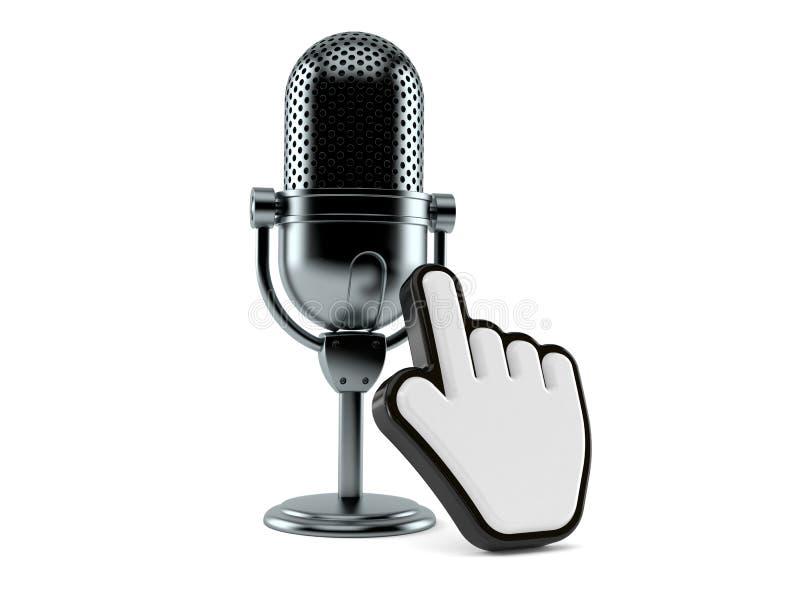 Radiomikrofon med rengöringsdukmarkören stock illustrationer