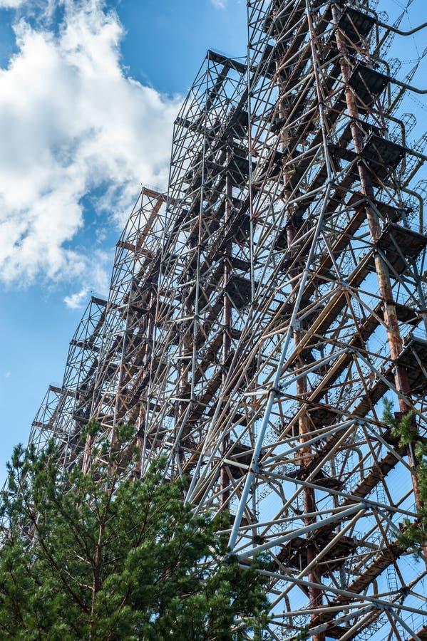 Radiomitt i Pripyat, Tjernobyl område som är bekant som 'bågen 'eller 'Duga ', royaltyfria foton