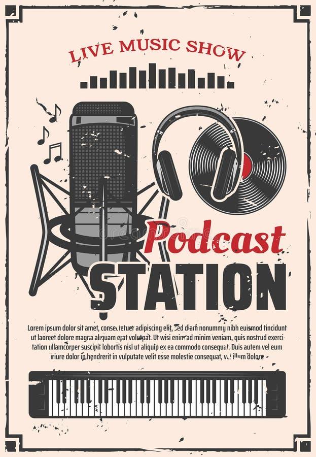 Radiomusikshow-Podcaststation, Retro- Vektor lizenzfreie abbildung