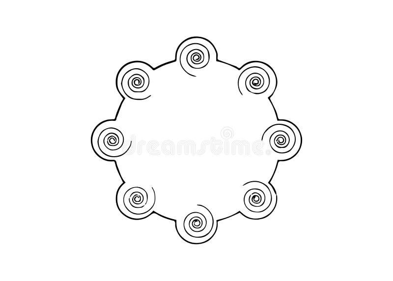Radionic-Verstärker-Energiekreis Einsatz-Bittstellerperson für Sendung in den Energie-Kreis zusammen mit Heilenzahlen vektor abbildung