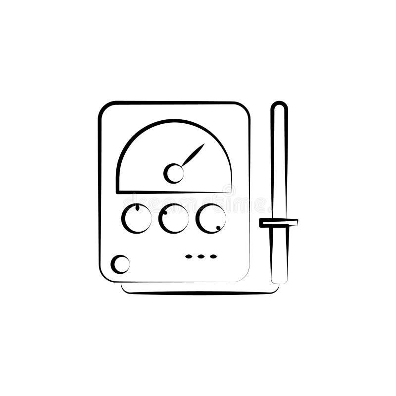 Radionics symbol Beståndsdel av den tokiga vetenskapssymbolen för mobila begrepps- och rengöringsdukapps Handen drog Radionics sy stock illustrationer