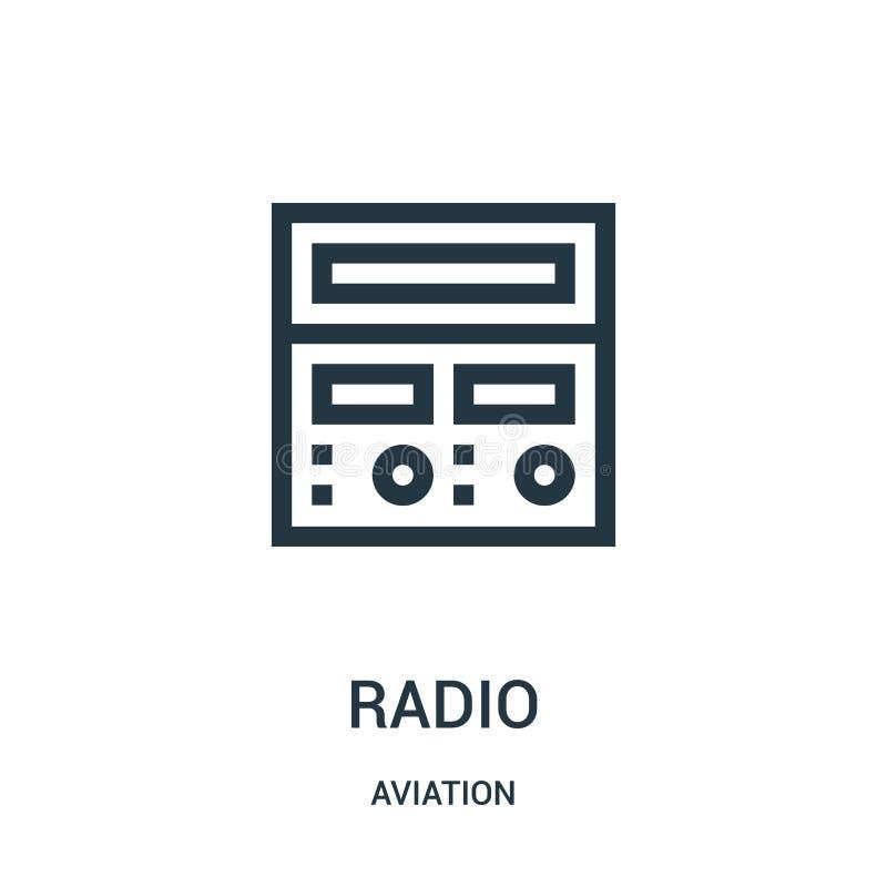radiopictogramvector van luchtvaartinzameling Dunne het pictogram vectorillustratie van het lijn radiooverzicht Lineair symbool v stock illustratie