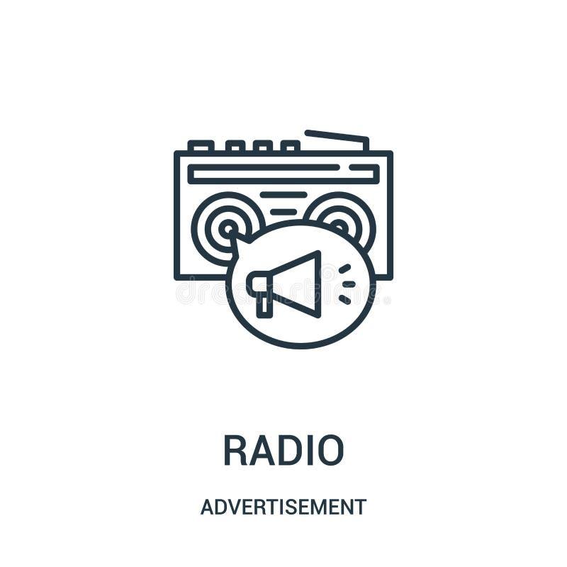 radiopictogramvector van reclameinzameling Dunne het pictogram vectorillustratie van het lijn radiooverzicht vector illustratie