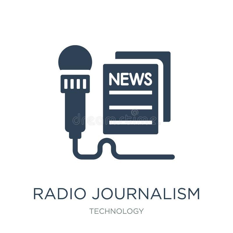 radiosända journalistiksymbolen i moderiktig designstil radiosända journalistiksymbolen som isoleras på vit bakgrund radiosända j stock illustrationer