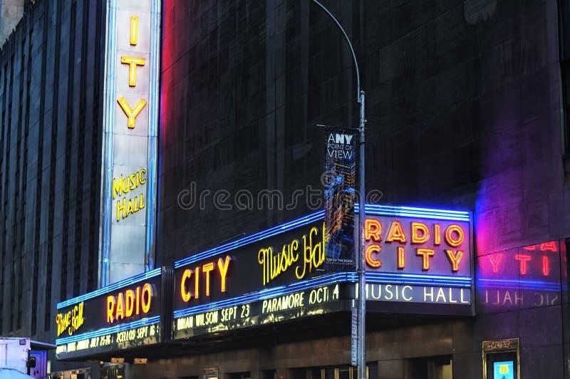Radiostadsmusik Hall Marquee arkivbild