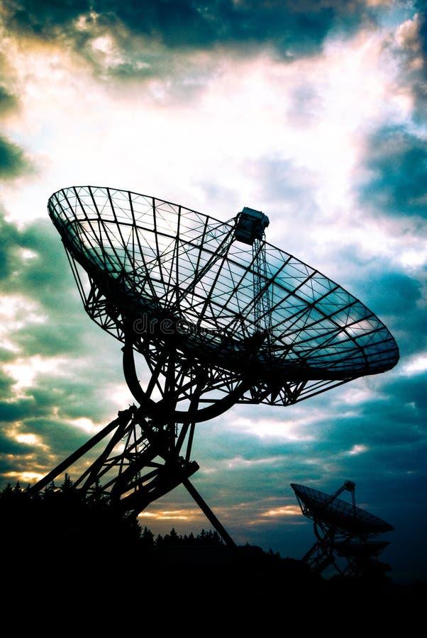 Radiotélescopes dans Westerbork, Pays-Bas images libres de droits