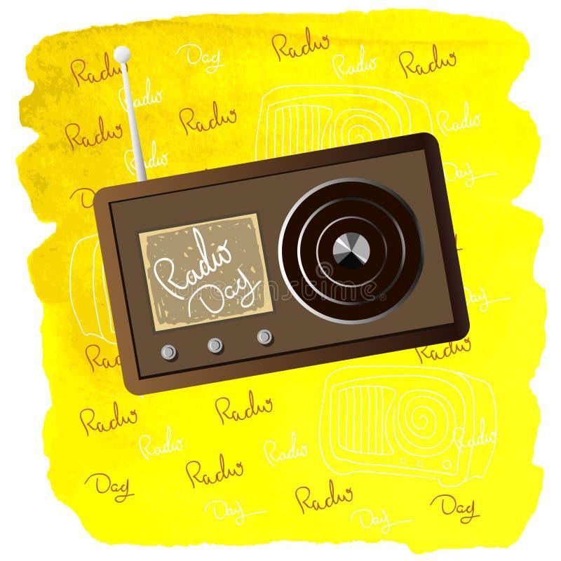 Radiotag der gelben Karte Welt vektor abbildung