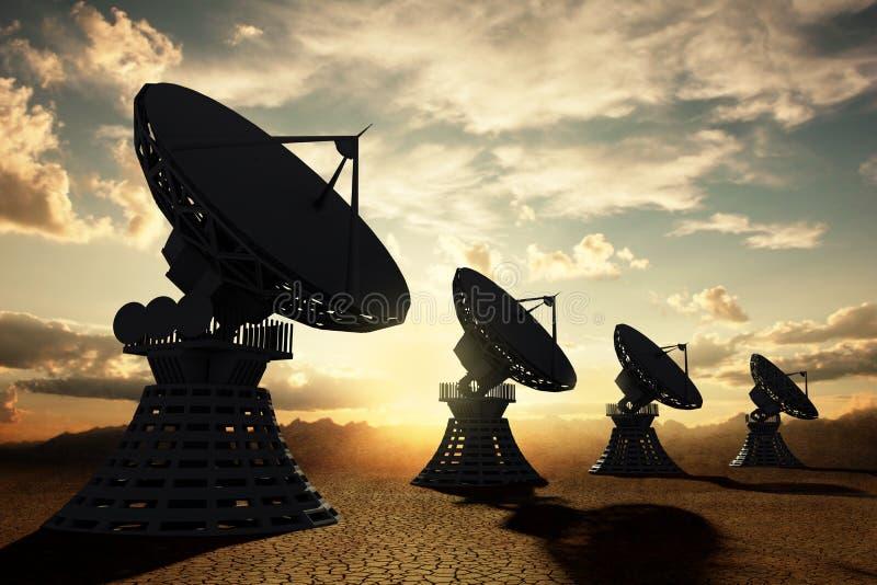 radiotelescopes silouette zmierzch ilustracji