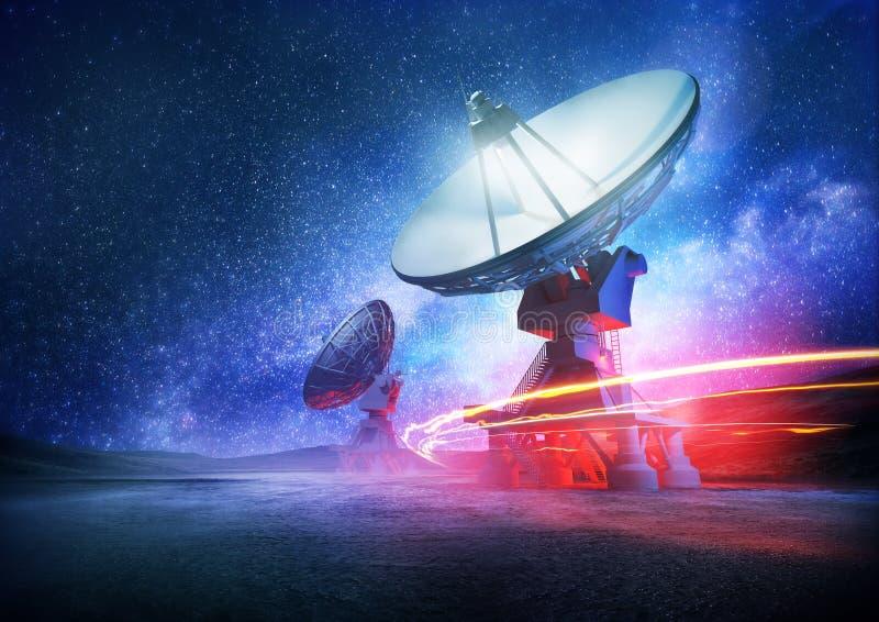 Radioteleskop för djupt utrymme royaltyfri foto