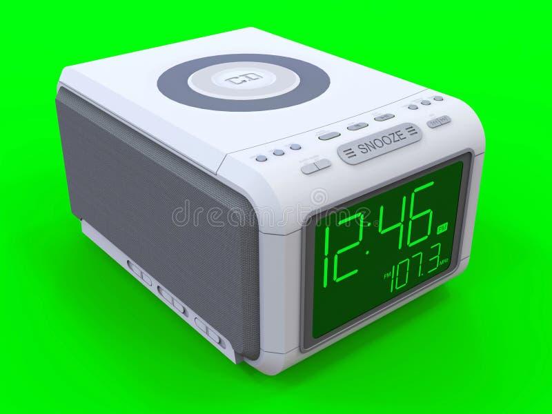 Radiouhrwarnungsuhr auf einem grünen Hintergrund Wiedergabe 3d lizenzfreie abbildung