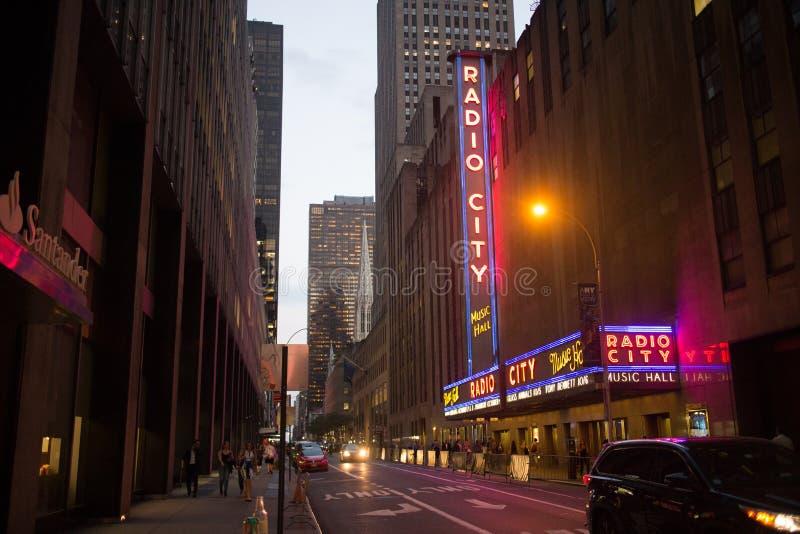 Radiowa miasto hala koncertowa w W centrum Manhattan, Miasto Nowy Jork obraz stock