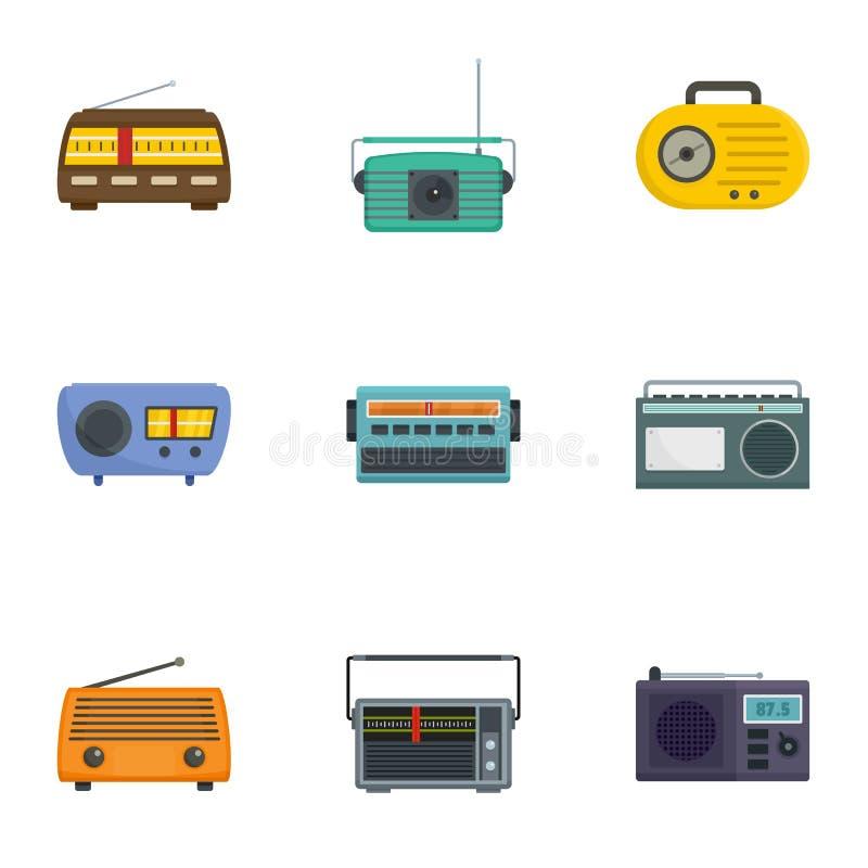 Radiowe odbiorczej staci ikony ustawiać, kreskówka styl royalty ilustracja