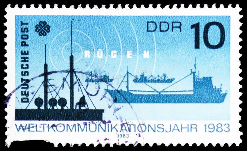 Radiowe skargi, statki, Światowy Komunikacyjny roku seria około 1983, obrazy royalty free