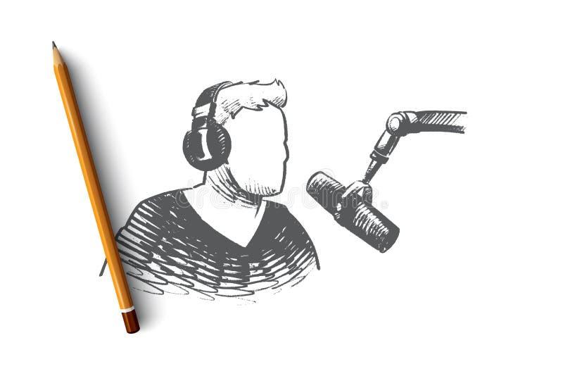 Radiowego dnia pojęcie Ręka rysujący odosobniony wektor royalty ilustracja
