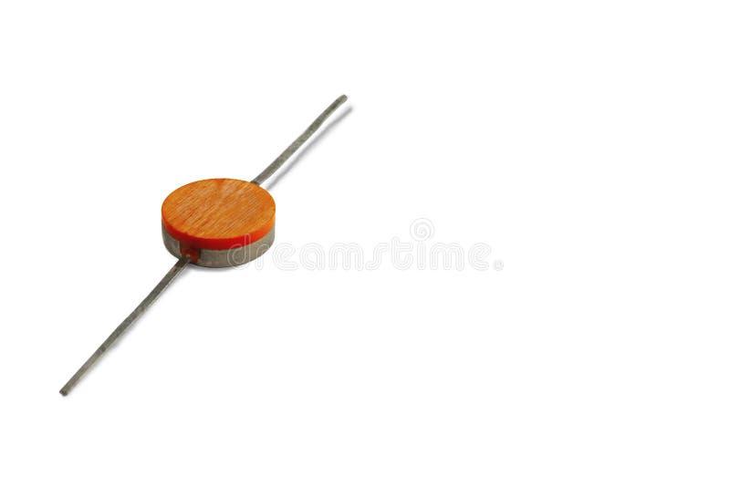 Radiowy element, bardzo stara dioda w górę na białym tle, zdjęcia royalty free