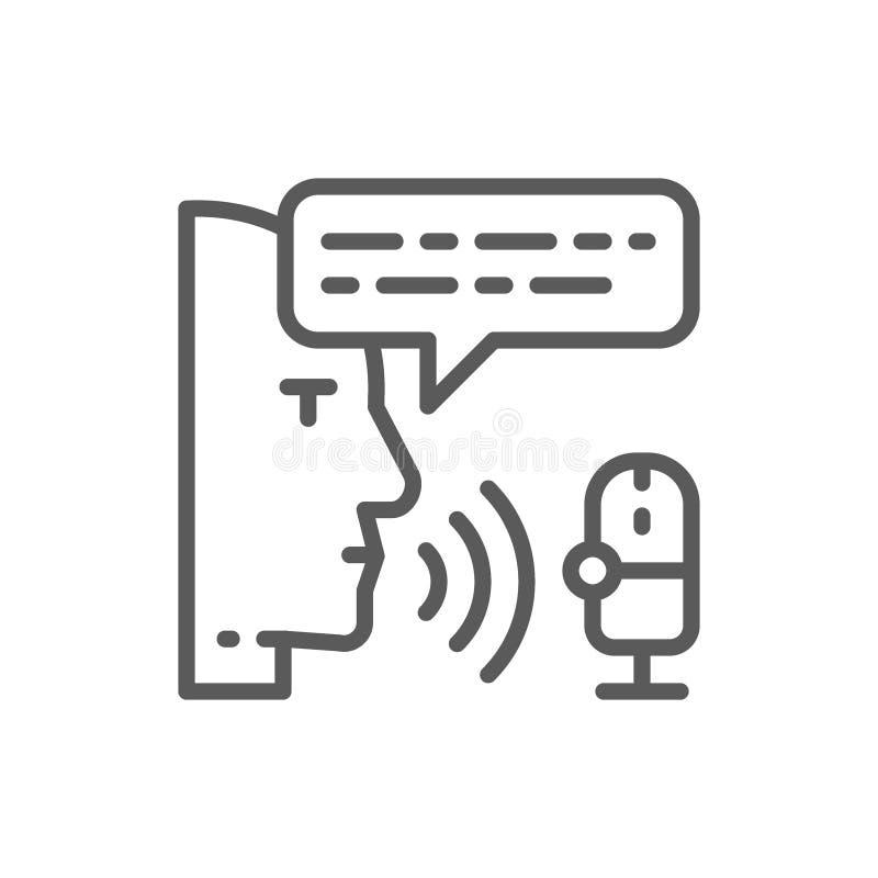 Radiowy gospodarz, d?wi?ka rejestr, transmisja, dj kreskowa ikona ilustracja wektor