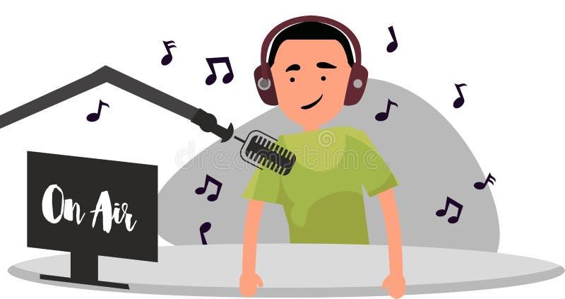 Radiowy gospodarz za biurkiem mówi w mikrofon na powietrzu ilustracji