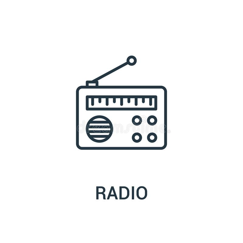 radiowy ikona wektor od reklam inkasowych Cienka linii radia konturu ikony wektoru ilustracja Liniowy symbol dla używa na sieci i ilustracja wektor