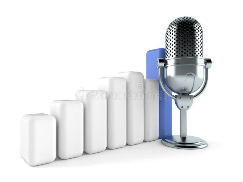 Radiowy mikrofon z mapą ilustracji