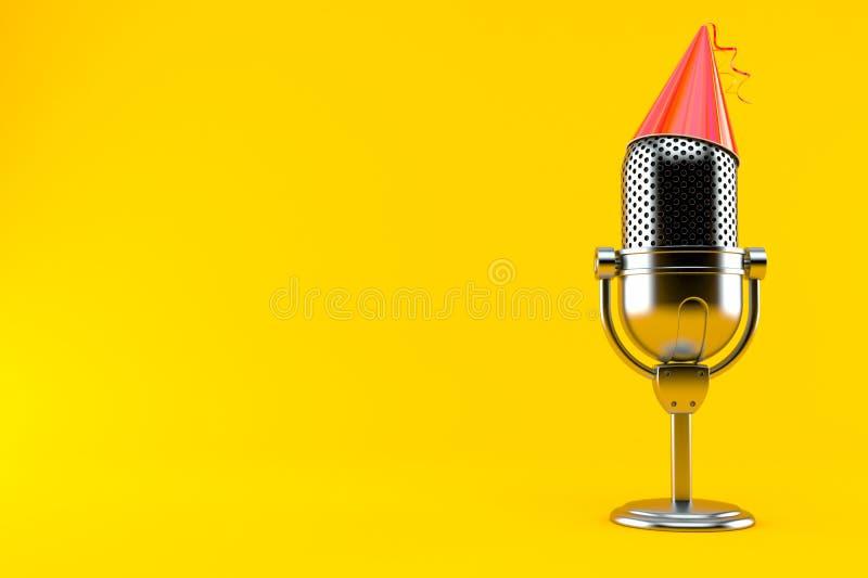 Radiowy mikrofon z partyjnym kapeluszem ilustracja wektor
