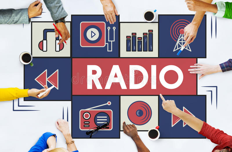 Radiowy Muzyczny Słuchający rytmu sygnału pojęcie obrazy stock