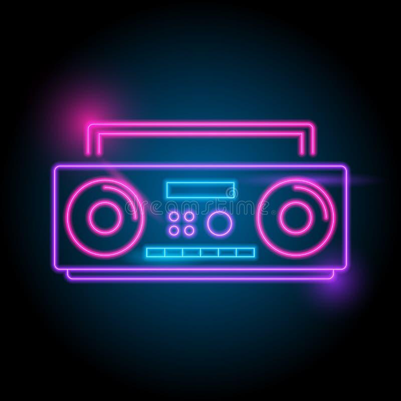 radiowy neonowy logo Łuna w zmroku elektryczny tematu sezon partyjny noc klub royalty ilustracja