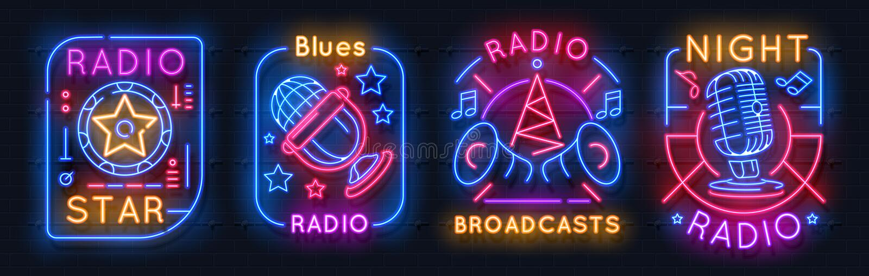 Radiowy Neonowy znak Muzyczne rozjarzone ikony na lotniczych nocy światła emblematach, audio przedstawienia pojęcie Wektorowy neo royalty ilustracja
