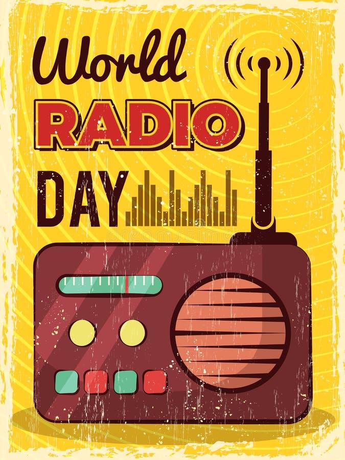 Radiowy plakat Mikrofonu wyemitowany studio mic i mówcy plakata wektorowy projekt royalty ilustracja