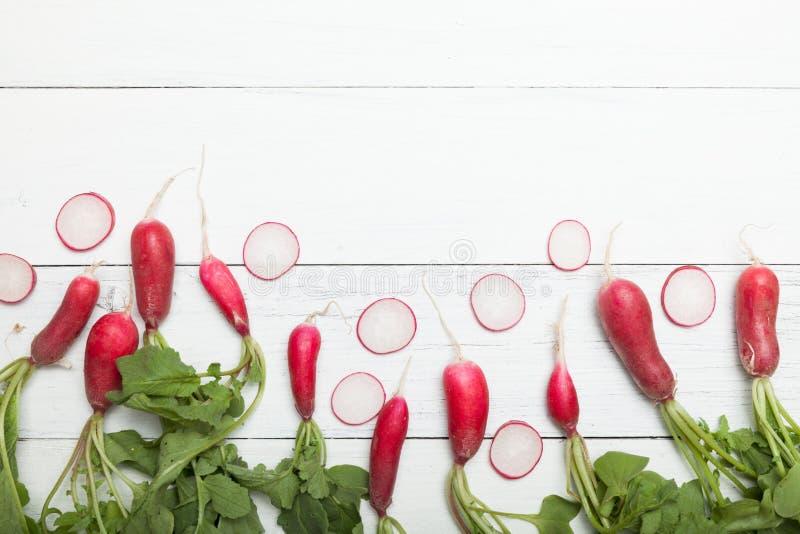Radis v?g?tal organique de vegan de ressort, nourriture crue Copiez l'espace pour le texte images libres de droits