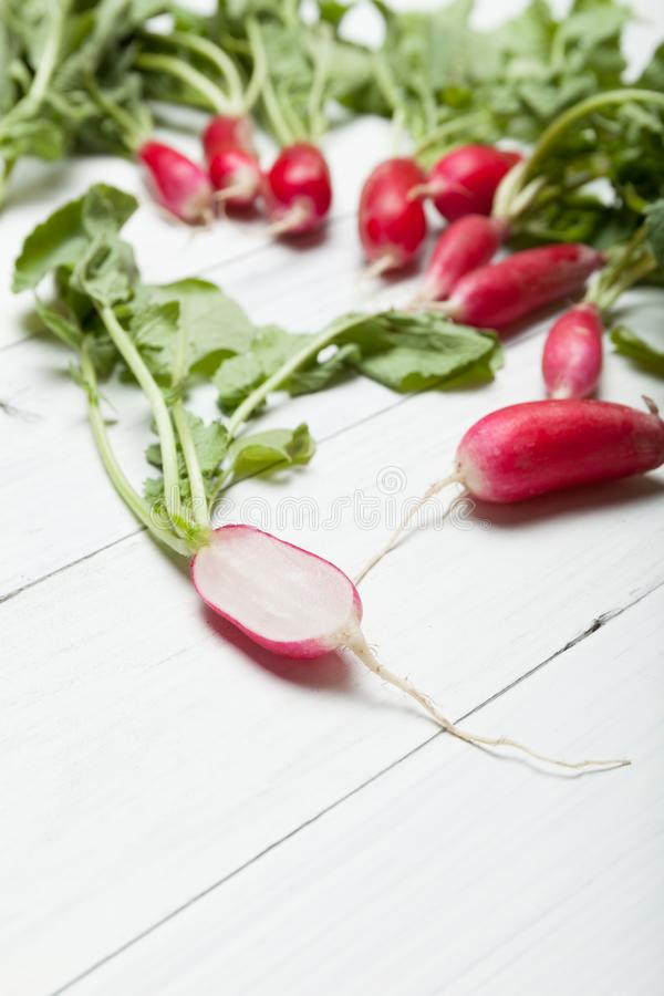 Radish bunch, diet food, agriculture background stock photo