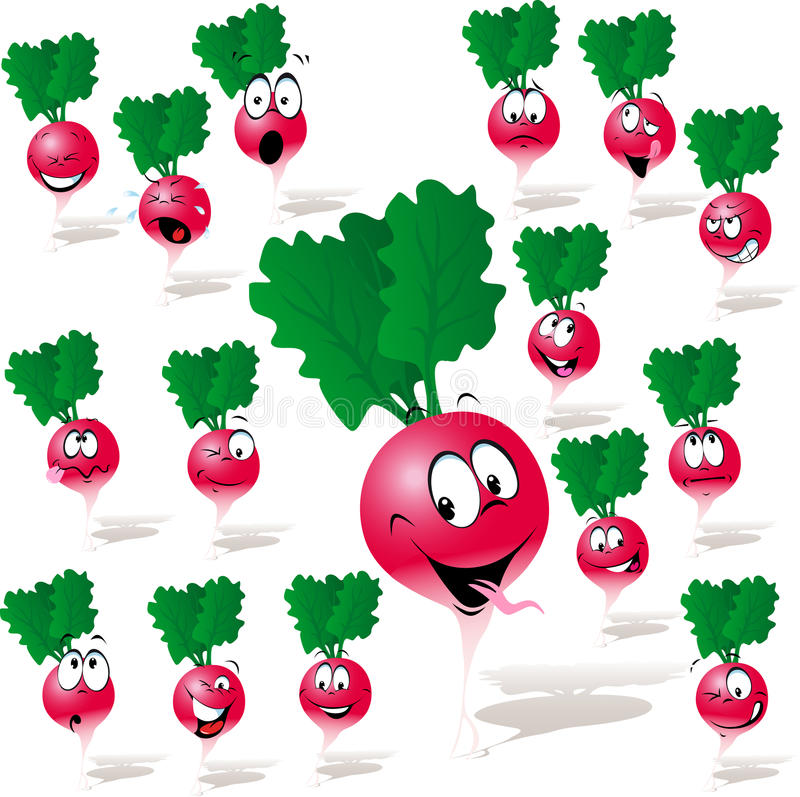 Download Radish cartoon stock vector. Image of excited, friend - 35840167