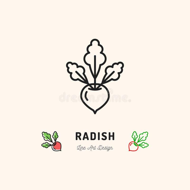 Radish icon Vegetables logo. Thin line art design. Vector outline illustration stock illustration