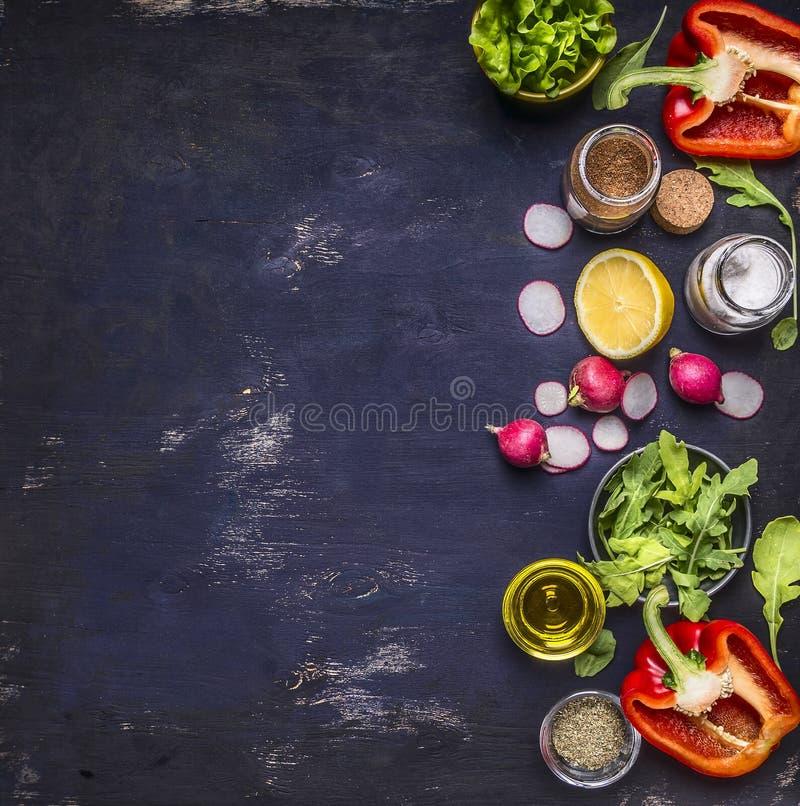Radish lemon arugula lettuce pepper salt seasoning various stacked vertically border banner fruits vegetables space for text o. Radish lemon arugula lettuce stock image