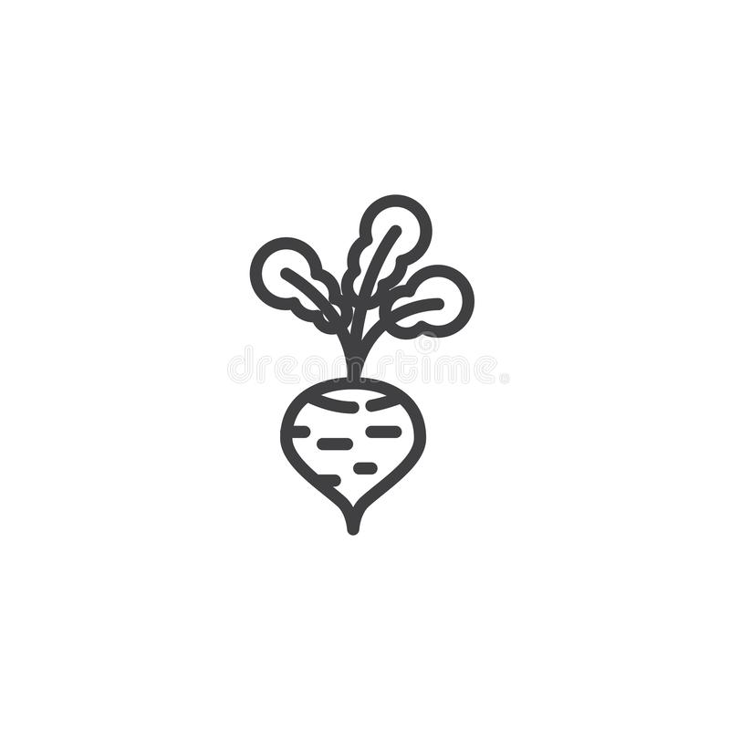 Radish vegetable line icon. Linear style sign for mobile concept and web design. Fresh radish outline vector icon. Symbol, logo illustration. Vector graphics royalty free illustration