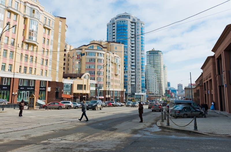 Radishcheva gata i mitten av Yekaterinburg. Ryssland royaltyfri bild