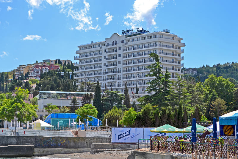 Radisson Blue Hotel near Black Sea in Alushta, Ukr. ALUSHTA, UKRAINE - JUN 01: newly constructed Radisson Blue Hotel near Black Sea in Alushta, Ukraine on June royalty free stock photography