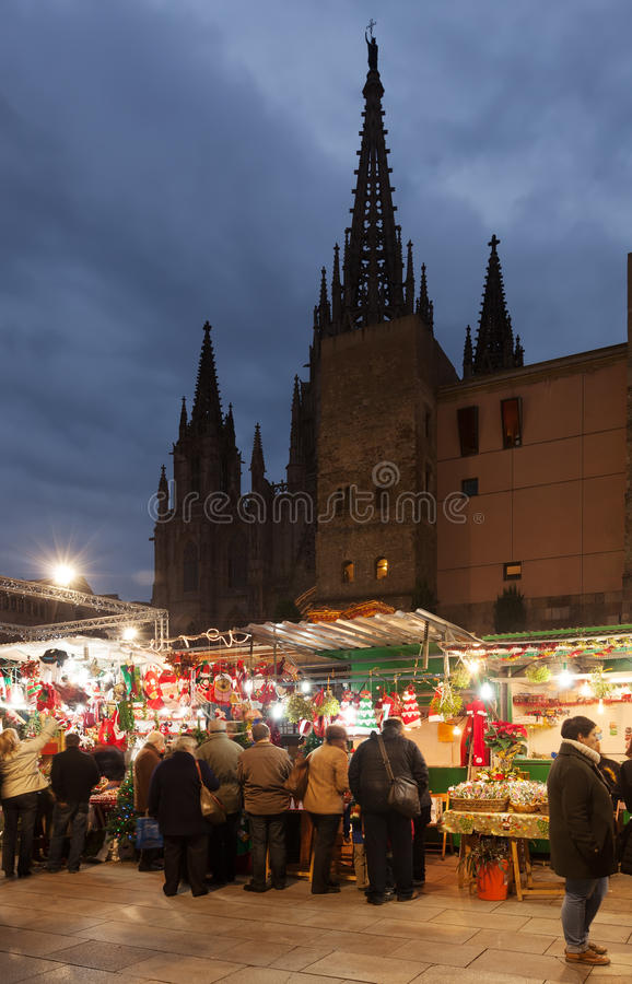 Raditional Christmas market near Cathedral. Barcelona royalty free stock photo
